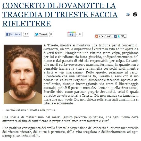 Lorenzo Jovanotti E Il Delirio Allucinante Dell Integralismo